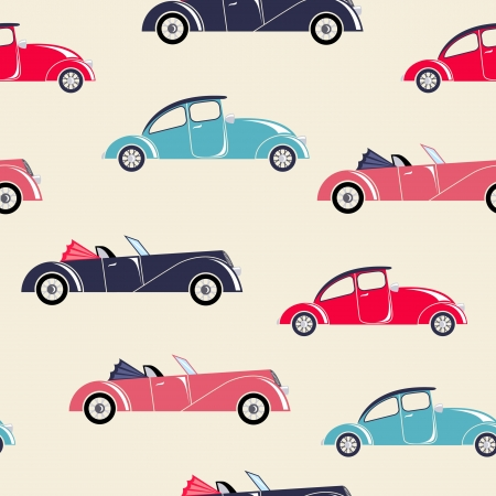 convertible car: Retro cars seamless pattern