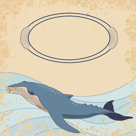Whale vintage invitation card Stock Vector - 20708571