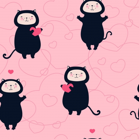 Valentine cats with hearts seamless pattern Vector