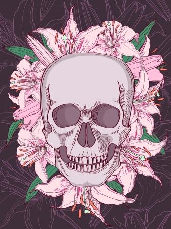 head paper: Skull and lilies vector illustration Illustration