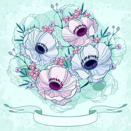 anemone: Anemone background invitation card