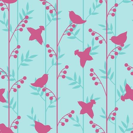 Einfache Vögel und Kräutern Silhouetten Muster Standard-Bild - 20708586