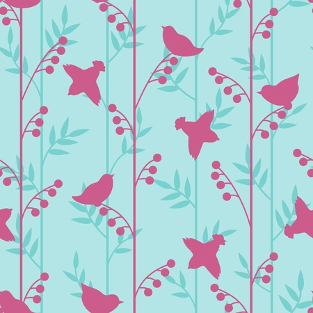 textile image: Simple birds and herbs silhouettes pattern