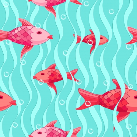 Red fishes seamless pattern Stock Vector - 20708591