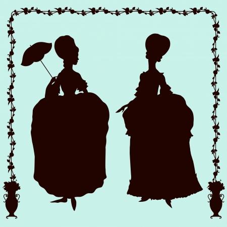 Rococo style historic fashion women silhouettes Vector