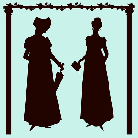 Empire style historic fashion women silhouettes Vector