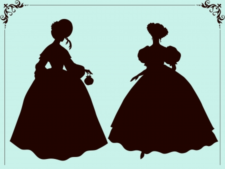 Nineteenth century style historic fashion women silhouettes Vector