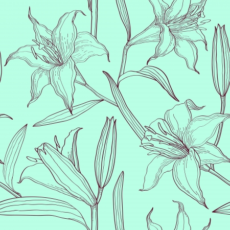 beautiful summer growth: lilies floral seamless pattern Illustration