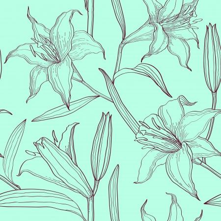 Lirios patrón floral sin fisuras Foto de archivo - 21459916