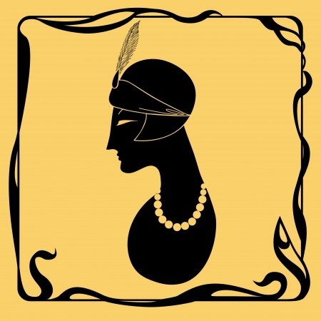 computer art: Art deco woman silhouette Illustration