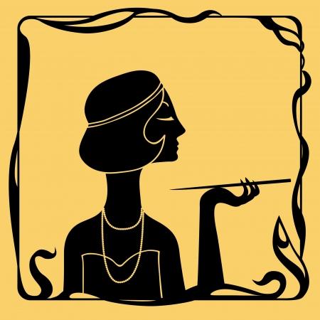 woman smoking: Art deco smoking woman profile silhouette