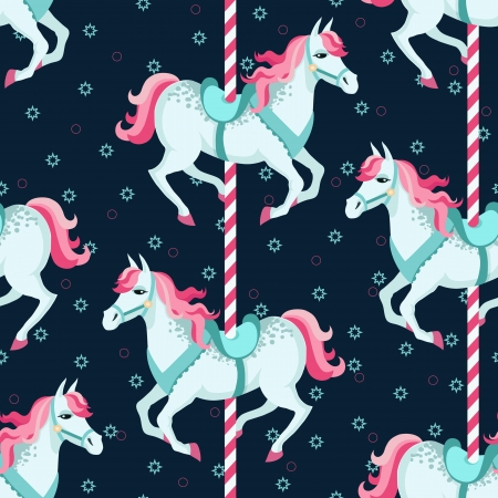 theme park: Carousel horses seamless pattern