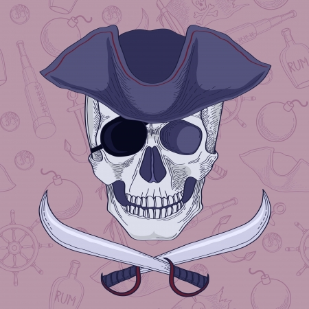 Pirates skull in hat vector illustration Vector