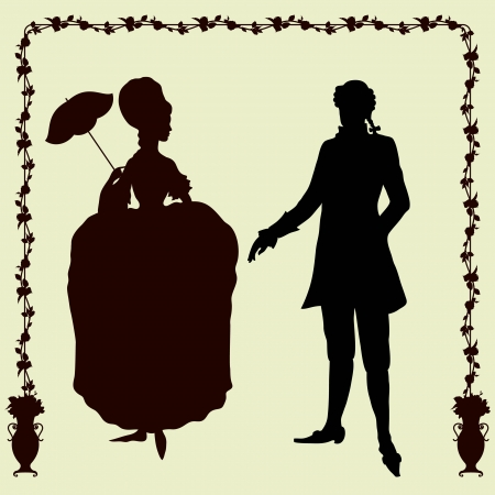 Rococo style historic fashion man and woman silhouettes Vector