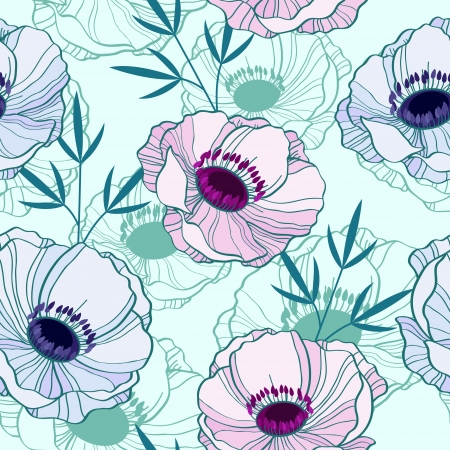 Elegant seamless pattern with anemones