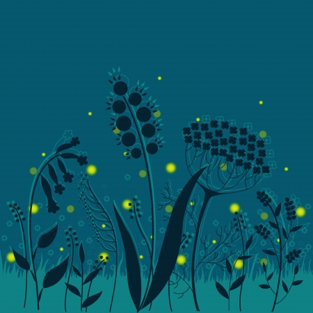 Summer night  Elegant floral background with fireflies