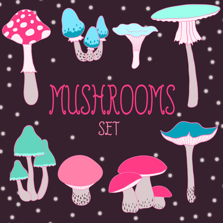 Cartoon style mushrooms set Stock Vector - 22568713