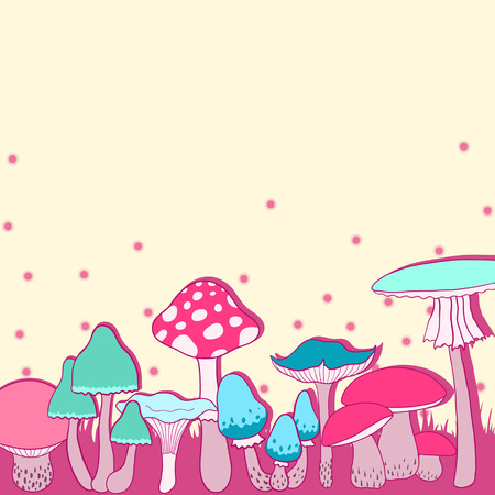 Colorful mushrooms beautiful vector background Stock Vector - 22568716