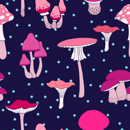 toxic mushroom: Colorful mushrooms seamless pattern