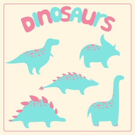 prehistoric animals: Cartoon style dinosaurs set