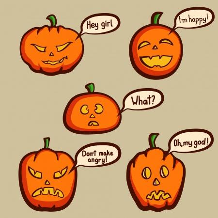 Talking Halloween pumpkins vector illustration Vector