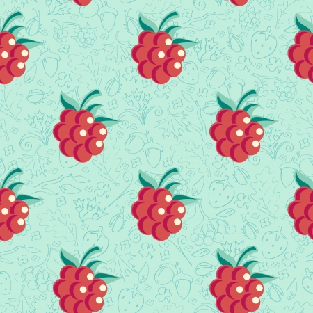 Beautiful seamless background with raspberries Vector