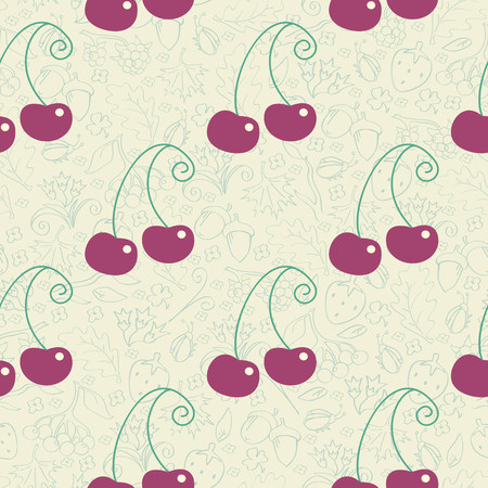 Beautiful seamless background with cherries Vector