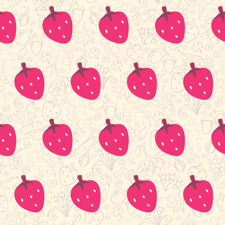 Beautiful seamless background with strawberries Vector
