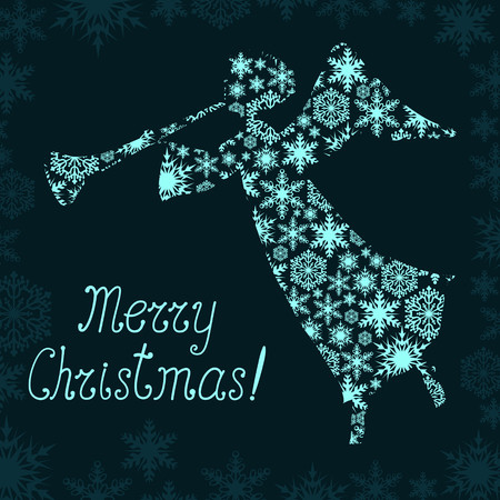 Christmas greeting card with angel Vector