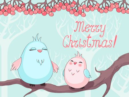 flit: Christmas greeting card with birds on a tree