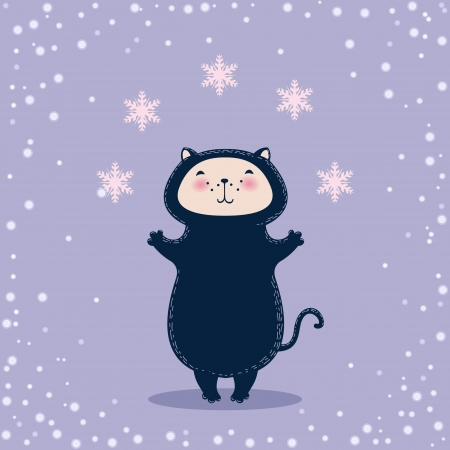 Christmas greeting card with cat juggling snowflakes Vector