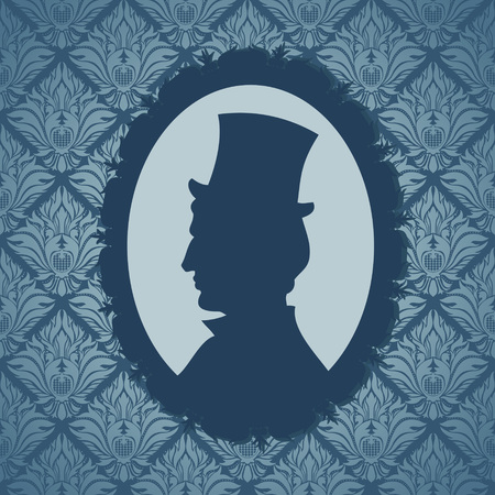Man silhouette portrait against vintage wallpapers background Vector