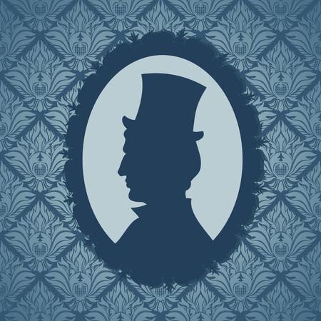 Man silhouette portrait against vintage wallpapers background Stock Vector - 22963125