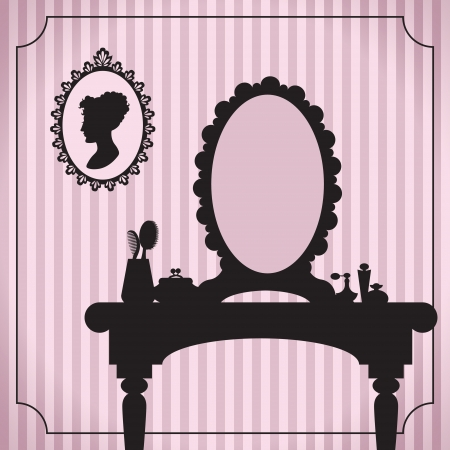 woman in mirror: Dressing table silhouette with women accessories