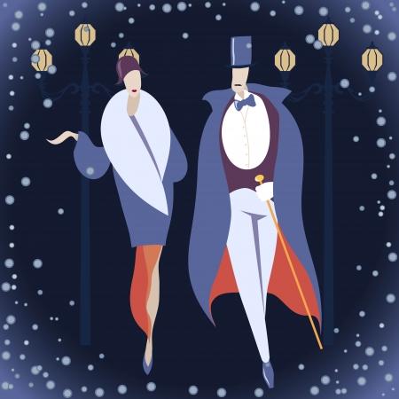 El hombre y la mujer en trajes de arte deco contra el fondo de invierno Ilustración de vector