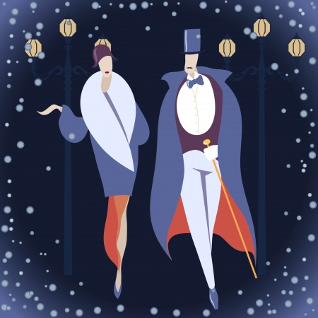 Man and woman in Art deco costumes against winter background