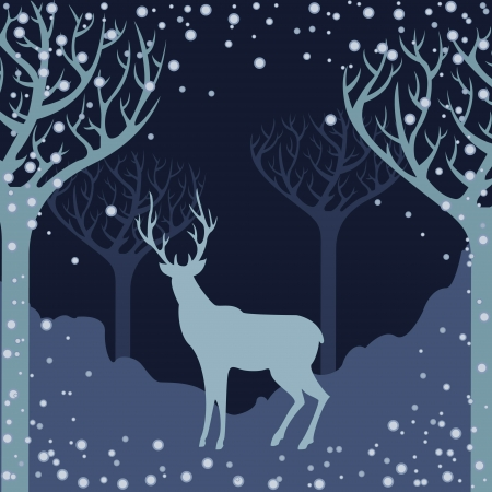 Deer silhouette in winter forest Vector