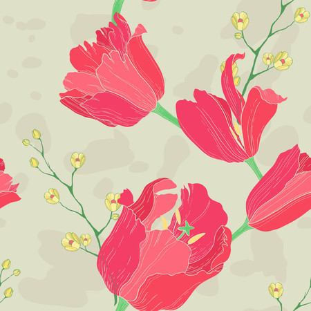 wallpaper image: Elegant vector floral background with red tulips
