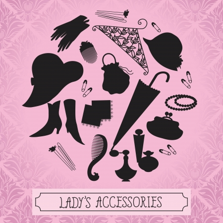 hairpin: Vintage ladies accessories silhouettes Illustration
