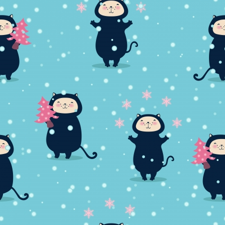 Seamless Christmas background with funny cats Vector
