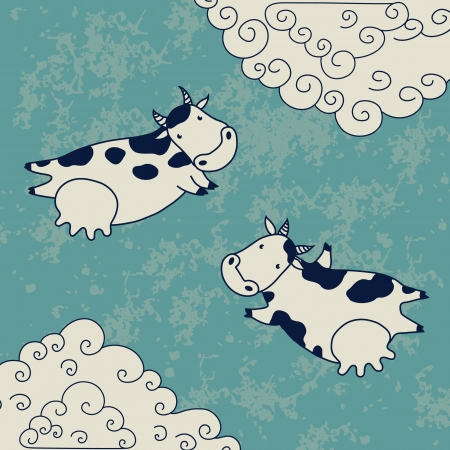 moo: Two cows flying in the sky with clouds  Vector illustration