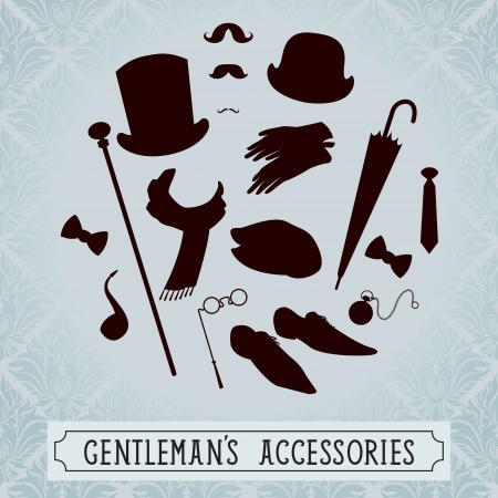Vintage style set of gentleman accessories Vector