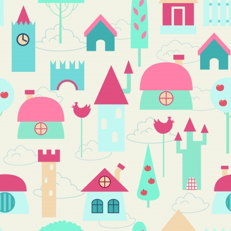 cartoons outline: Funny colorful houses  Children seamless background