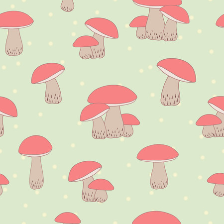 Seamless background with mushrooms in pastel colors Stock Vector - 23192591