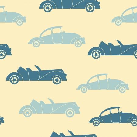 Retro cars seamless vector pattern