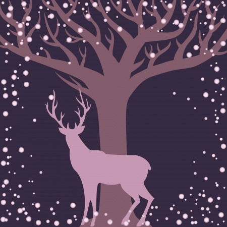 Winter season background with deer and tree silhouettes Vector