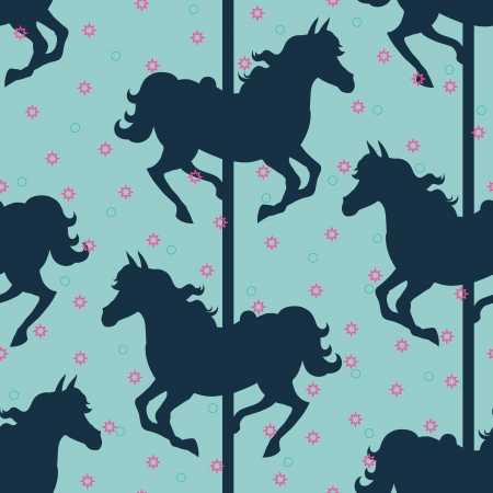 Carousel horses silhouettes seamless vector background