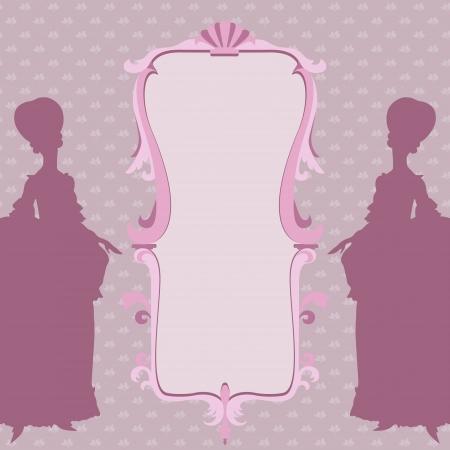 rococo style: Rococo marco ornamental estilo con siluetas de las mujeres Vectores