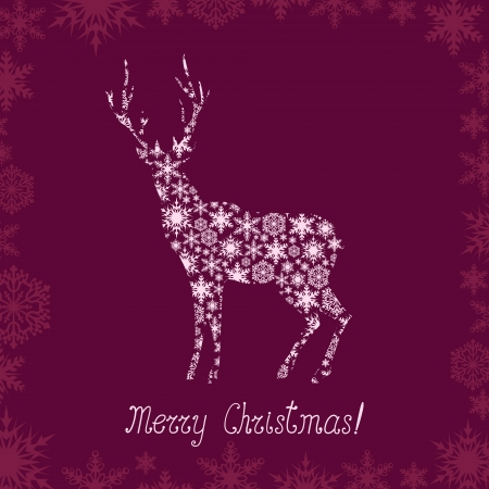 Christmas greeting with deer patterned silhouette Vector