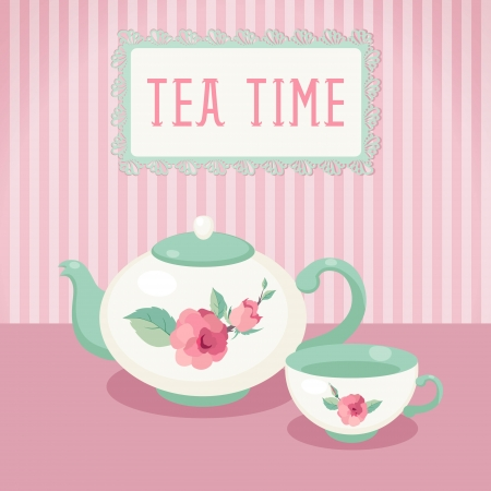 tea time: Tea time  Tea pot and cup against striped background